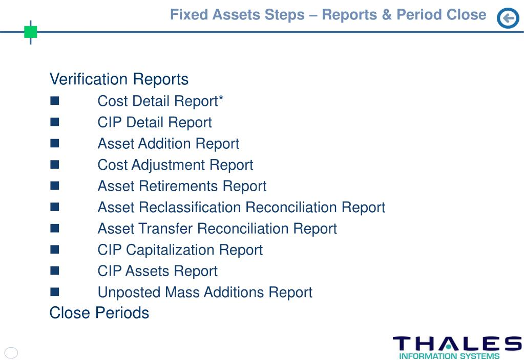 Fixed Assets Steps – Reports & Period Close