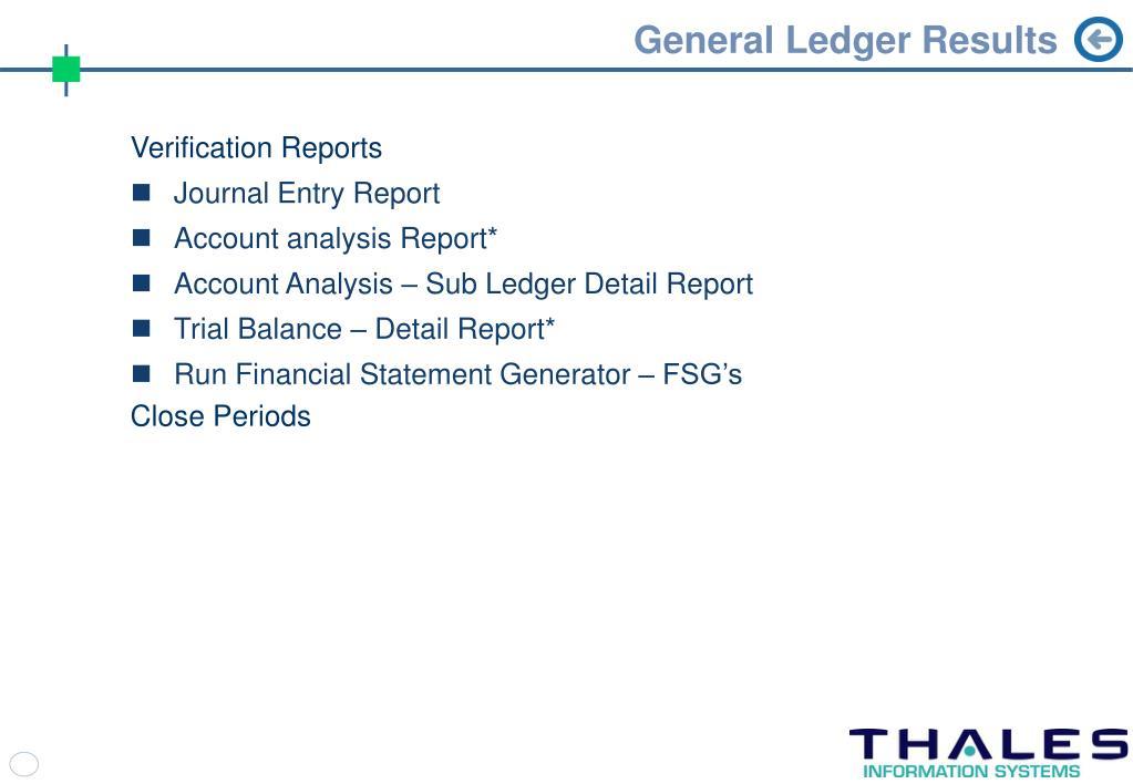 General Ledger Results