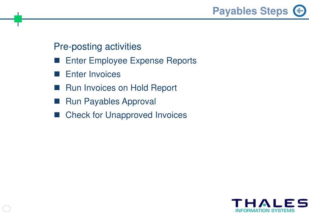 Payables Steps