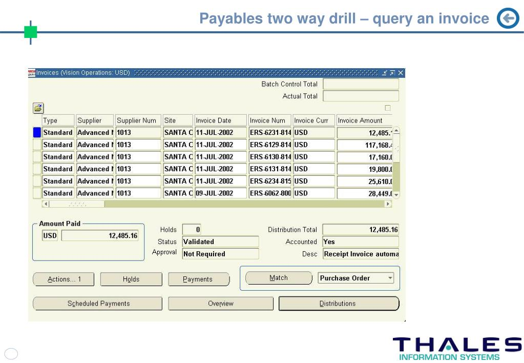 Payables two way drill – query an invoice