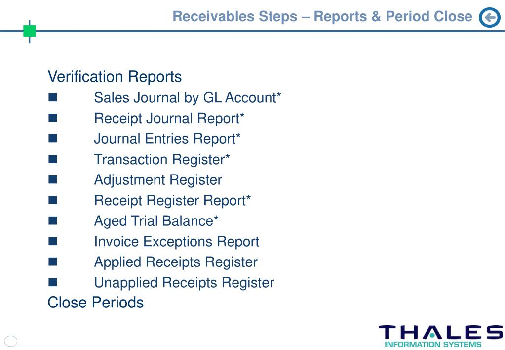 Receivables Steps – Reports & Period Close