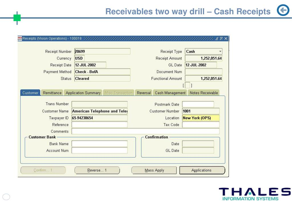 Receivables two way drill – Cash Receipts
