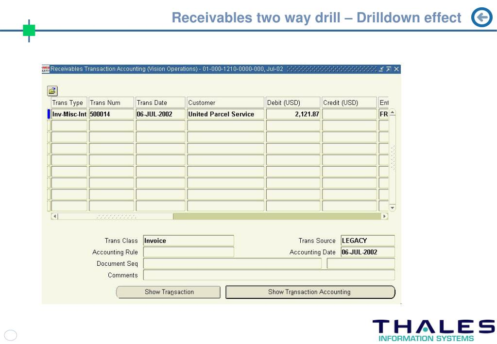 Receivables two way drill – Drilldown effect