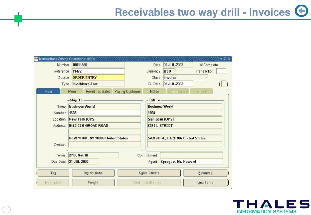 Receivables two way drill - Invoices