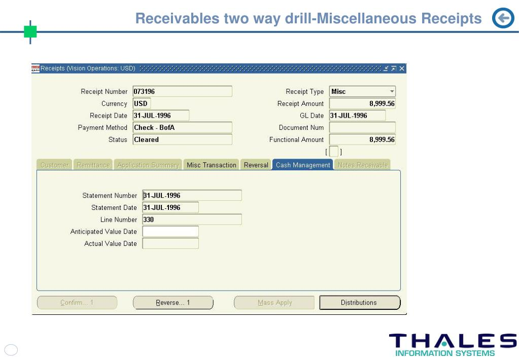 Receivables two way drill-Miscellaneous Receipts