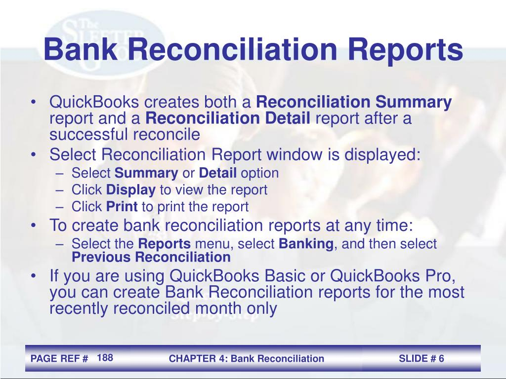Bank Reconciliation Reports