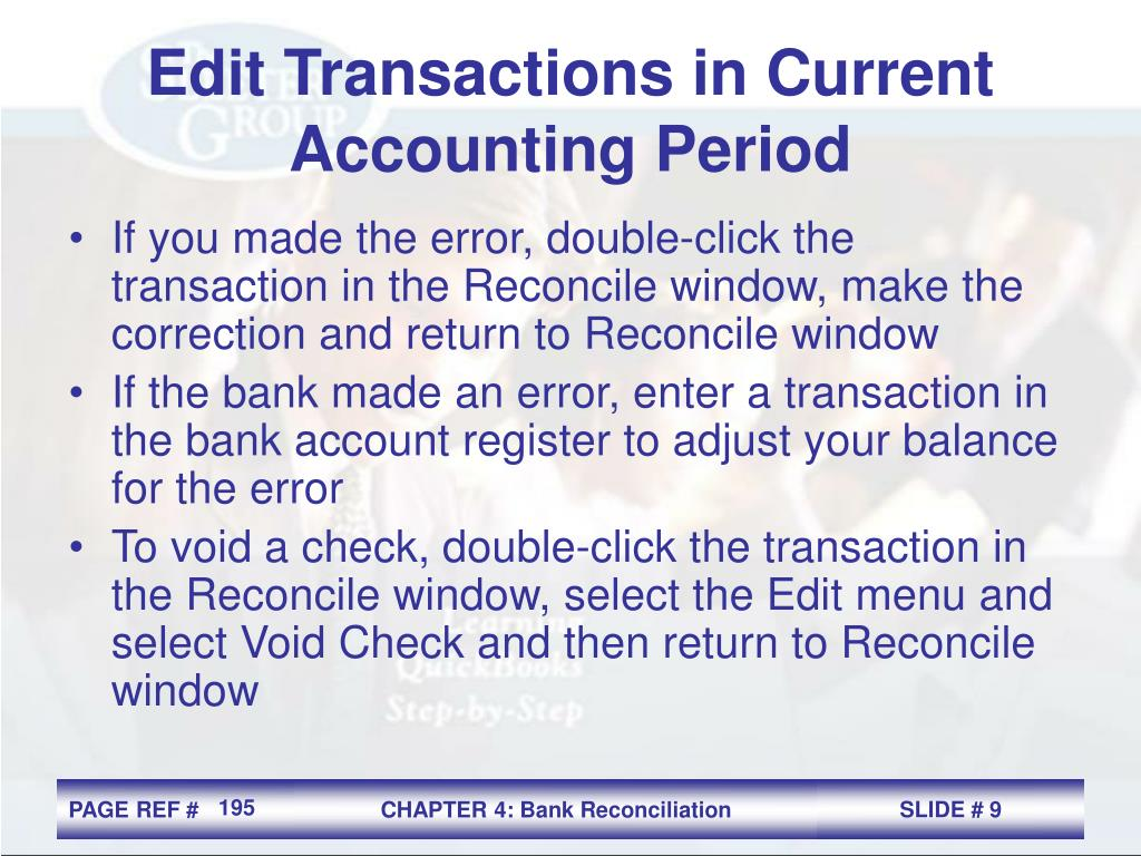 Edit Transactions in Current Accounting Period