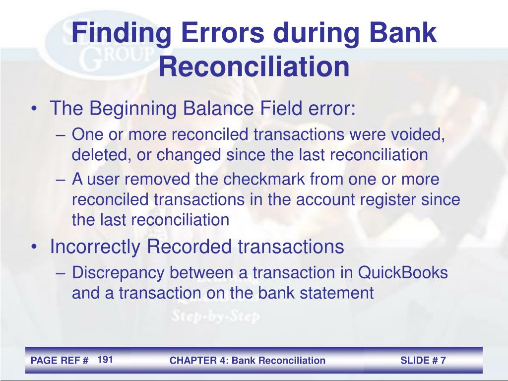 Finding Errors during Bank Reconciliation