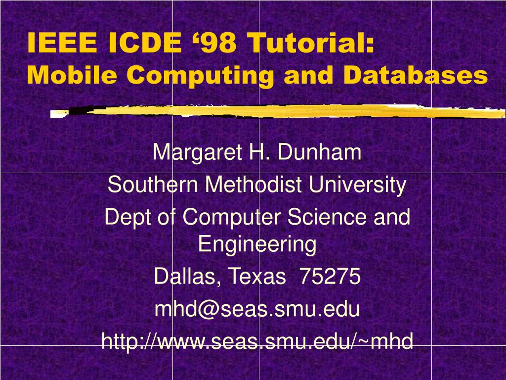 ieee icde 98 tutorial mobile computing and databases l.