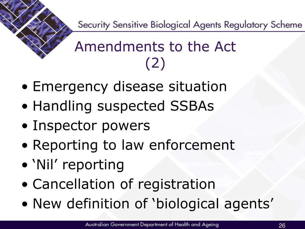 Amendments to the Act