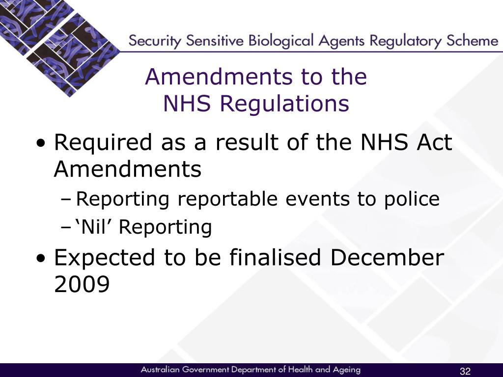 Amendments to the