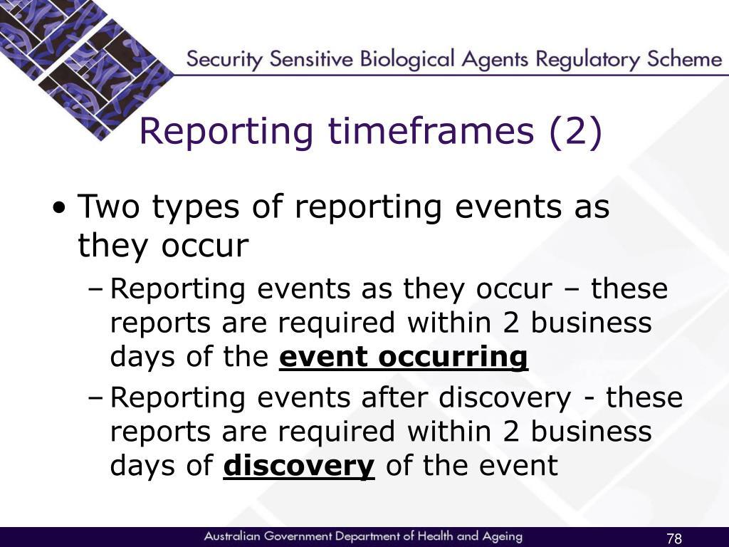 Reporting timeframes (2)