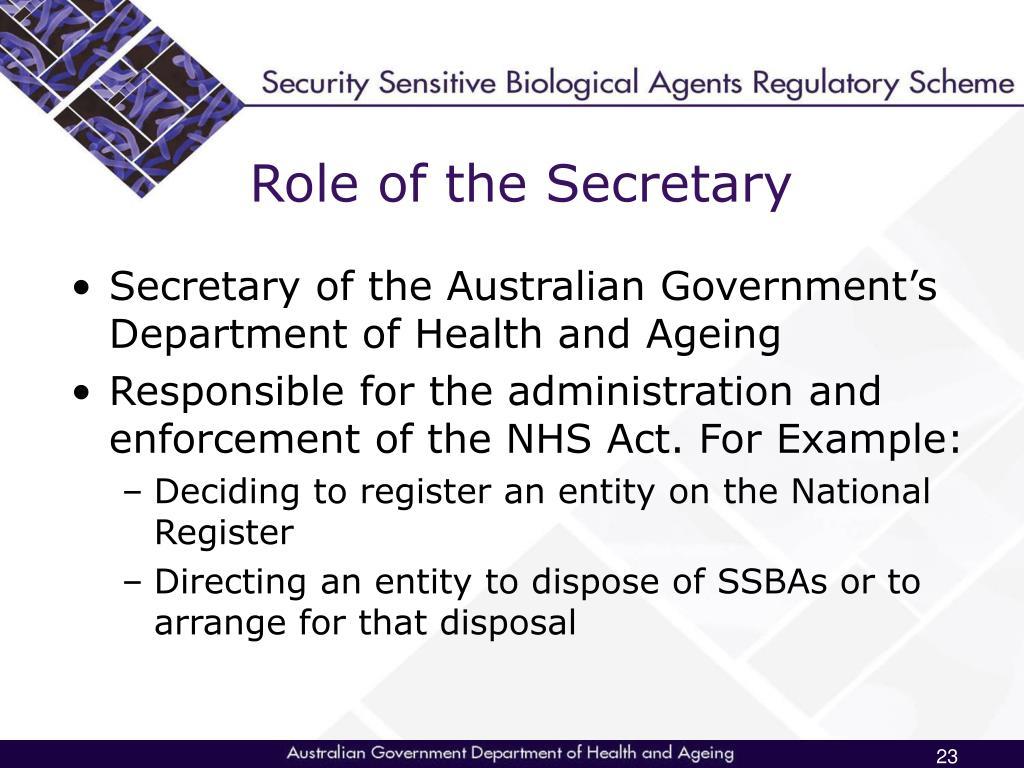 Role of the Secretary