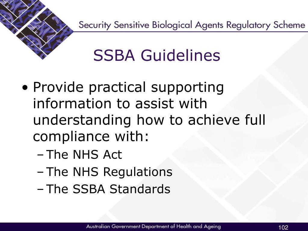 SSBA Guidelines