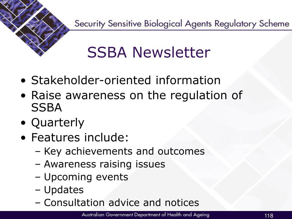 SSBA Newsletter