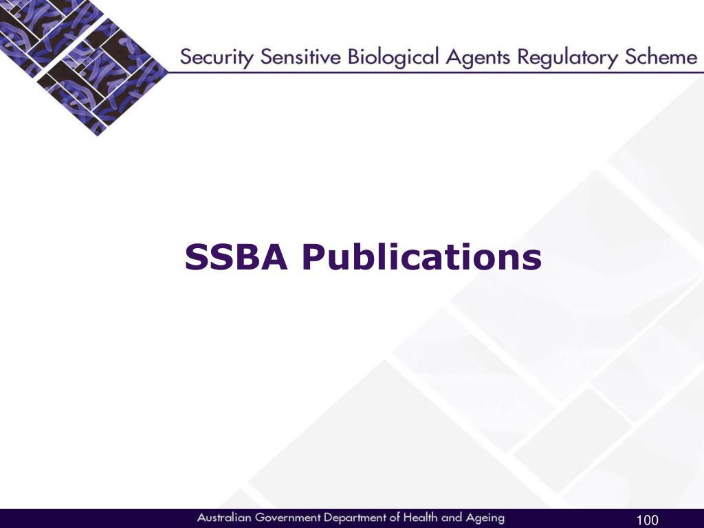 SSBA Publications