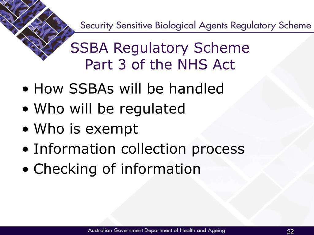 SSBA Regulatory Scheme