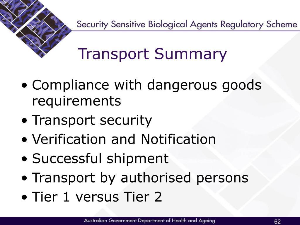 Transport Summary