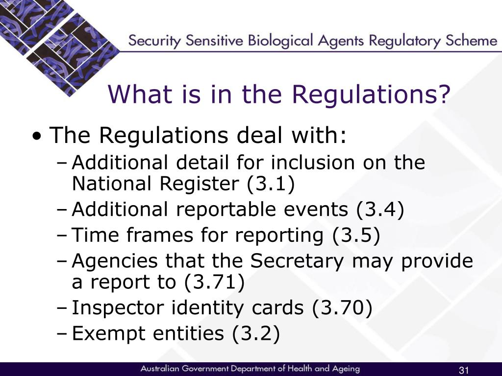 What is in the Regulations?