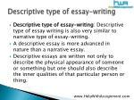 descriptive type of essay writing