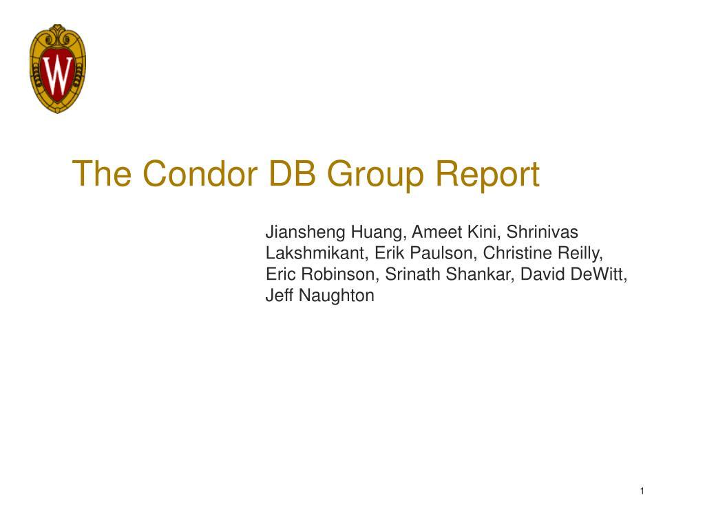 the condor db group report l.
