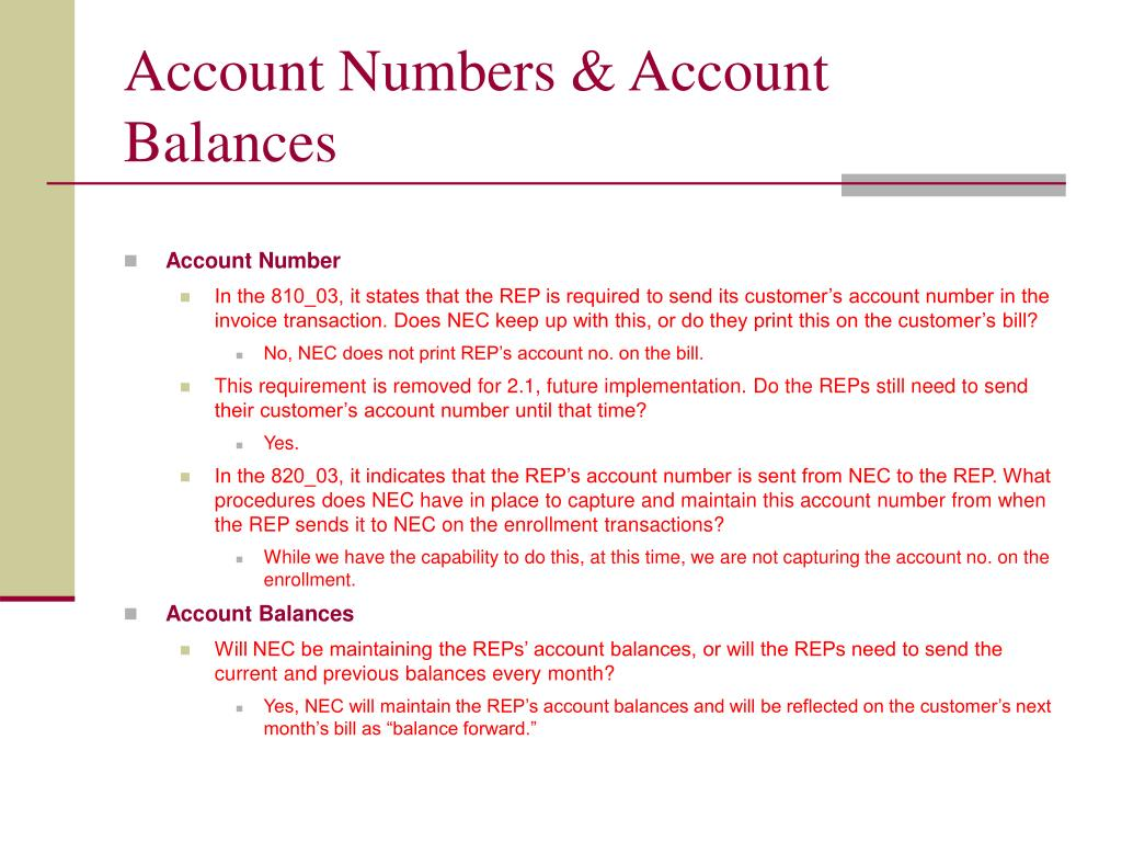 Account Numbers & Account Balances