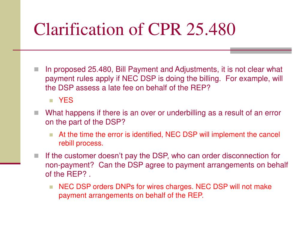 Clarification of CPR 25.480