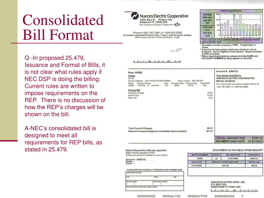 Consolidated Bill Format
