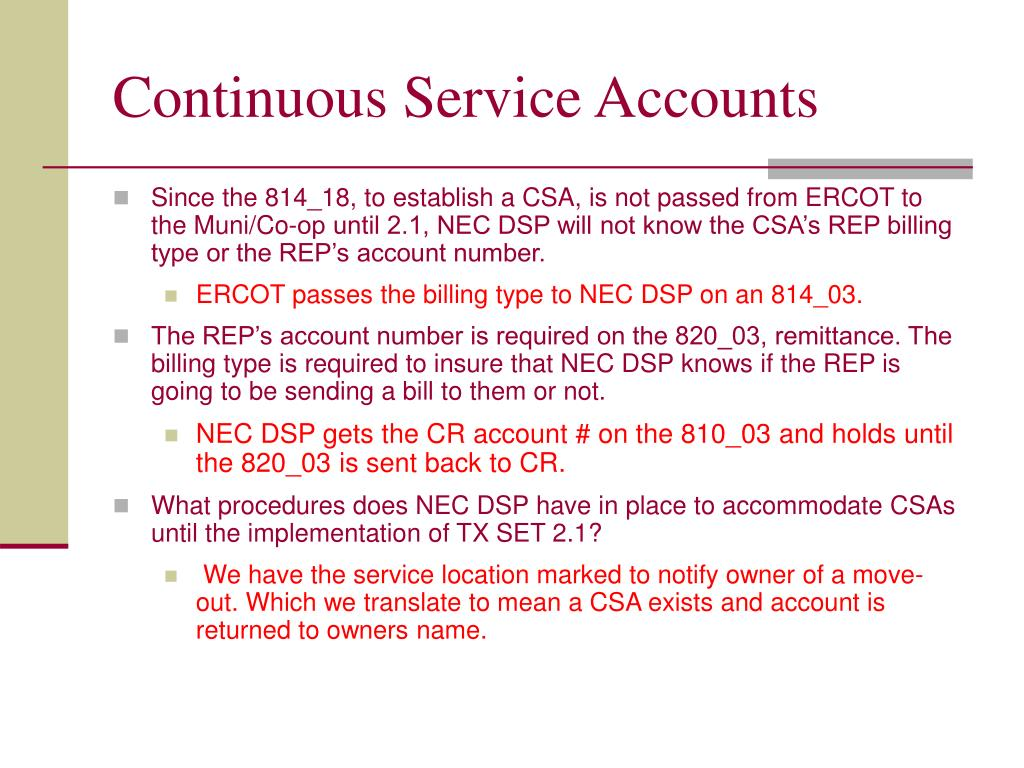 Continuous Service Accounts