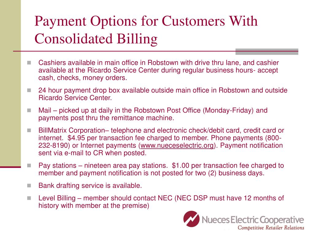 Payment Options for Customers With