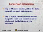 conversion calculation