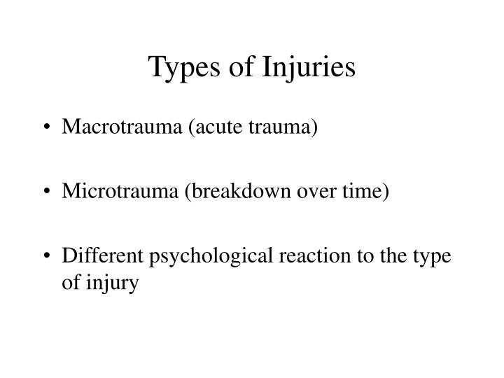 acute or traumatic injuries essay Traumatic brain injury essay  definition traumatic brain injury (tbi) is a nondegenerative, noncongenital insult to the brain from an external mechanical force, possibly leading to permanent or temporary impairment of cognitive, physical, and psychosocial functions, with an associated diminished or altered state of consciousness.