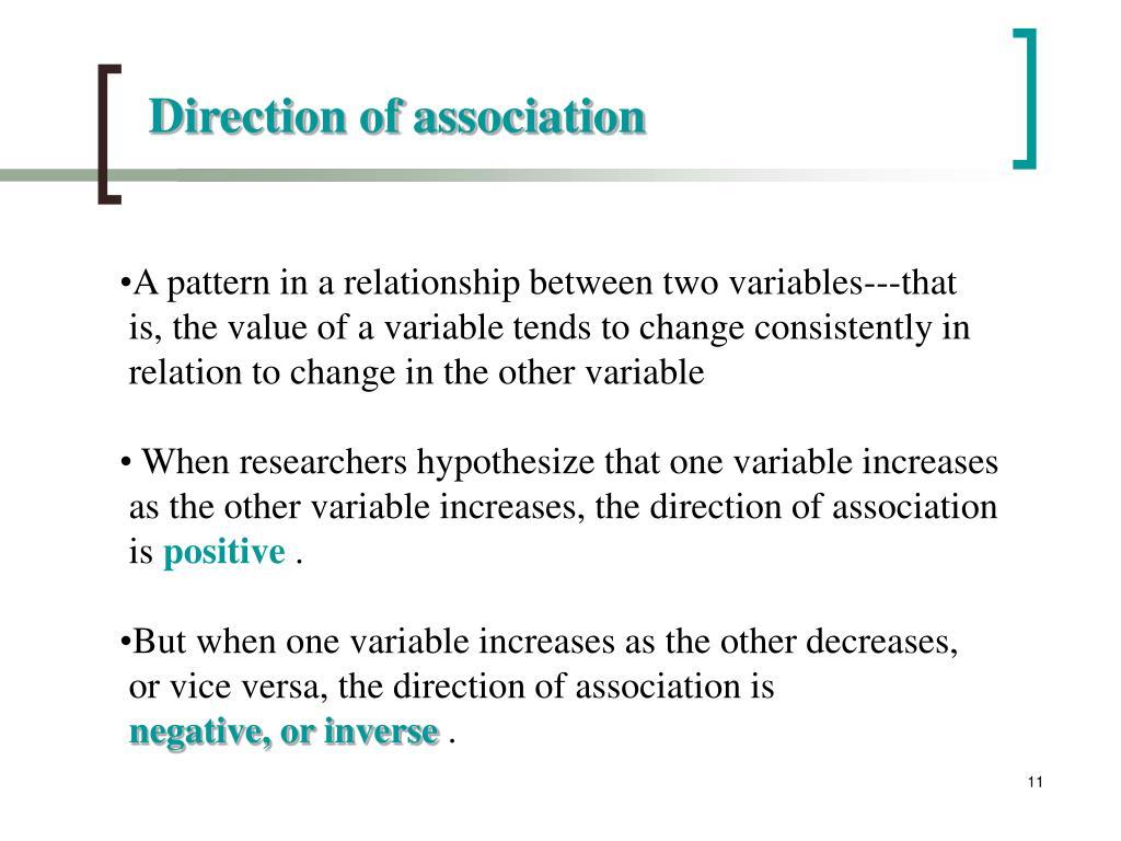 Direction of association
