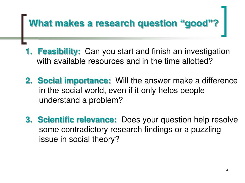 """What makes a research question """"good""""?"""