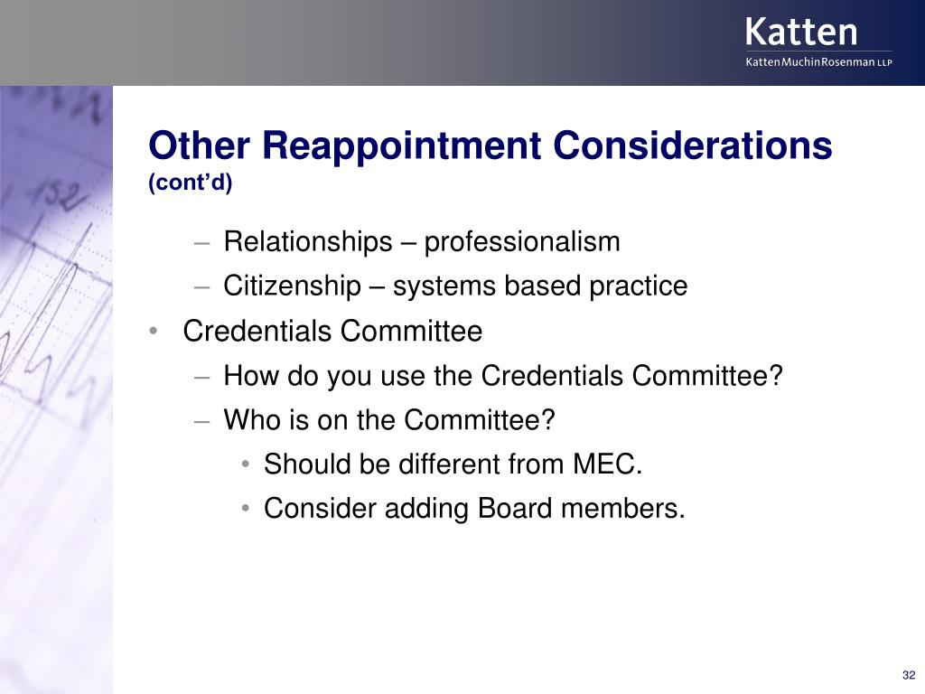 Other Reappointment Considerations