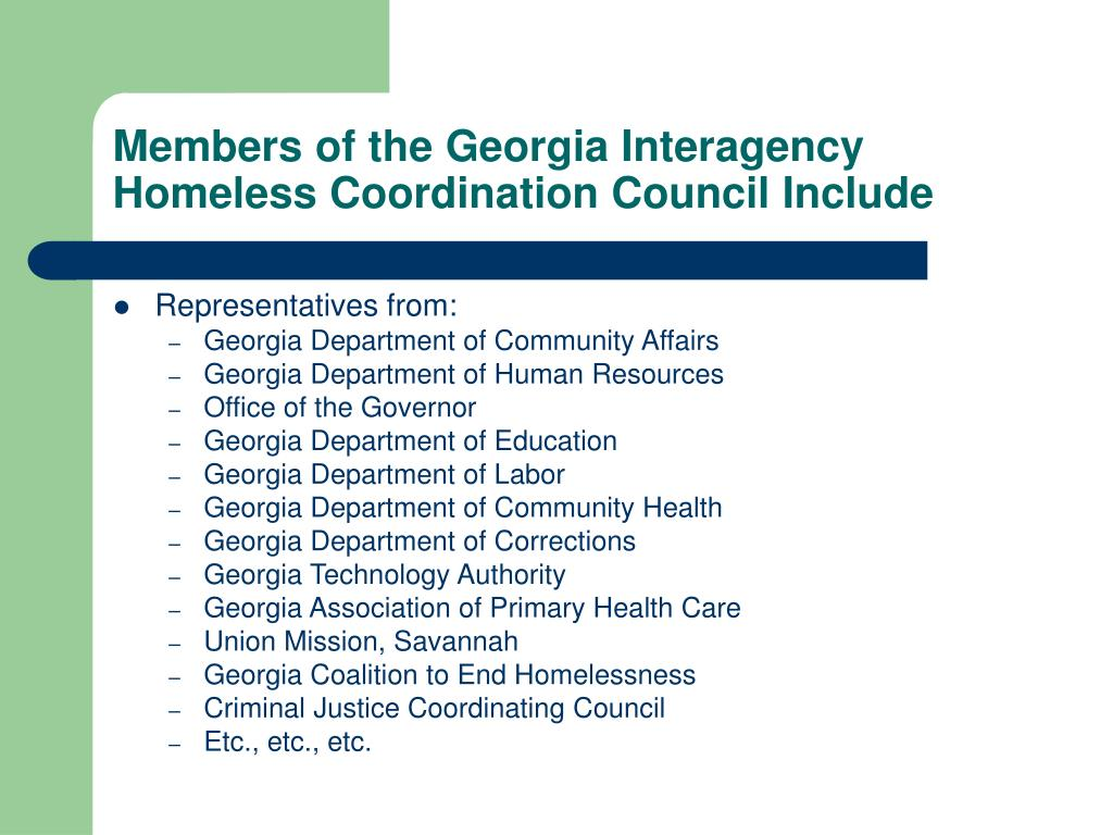 Members of the Georgia Interagency Homeless Coordination Council Include