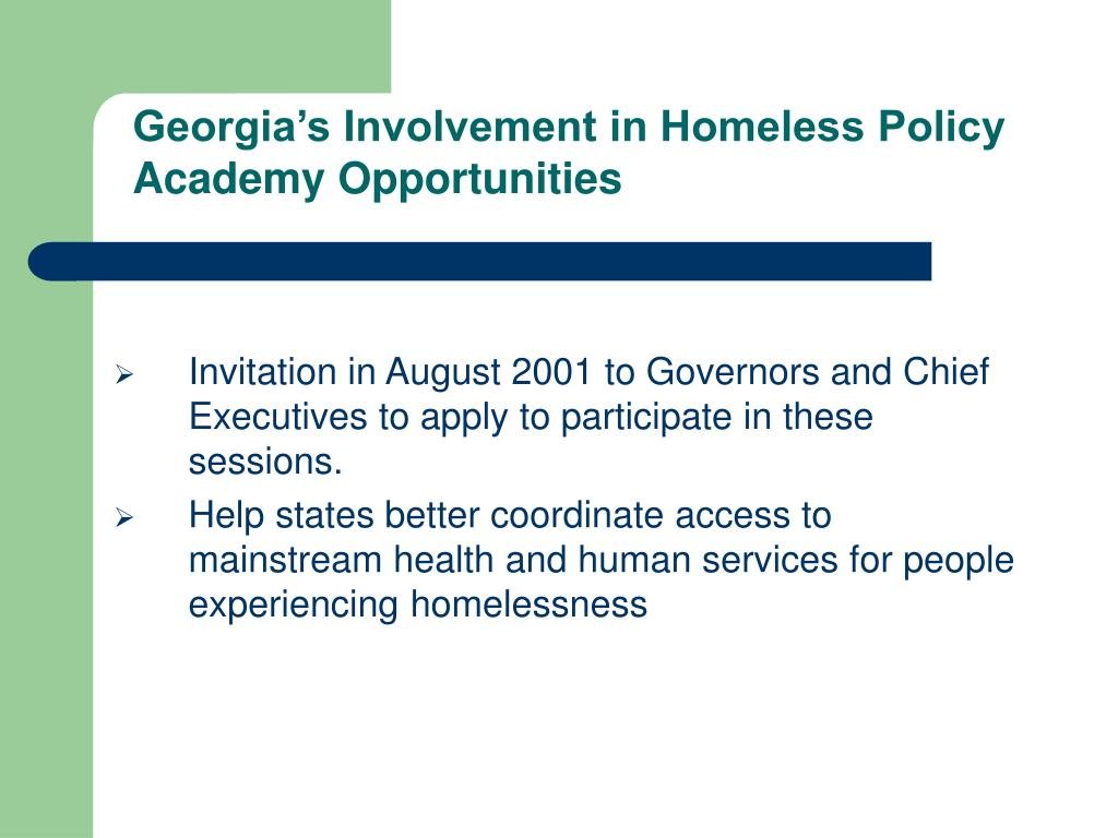 Georgia's Involvement in Homeless Policy Academy Opportunities