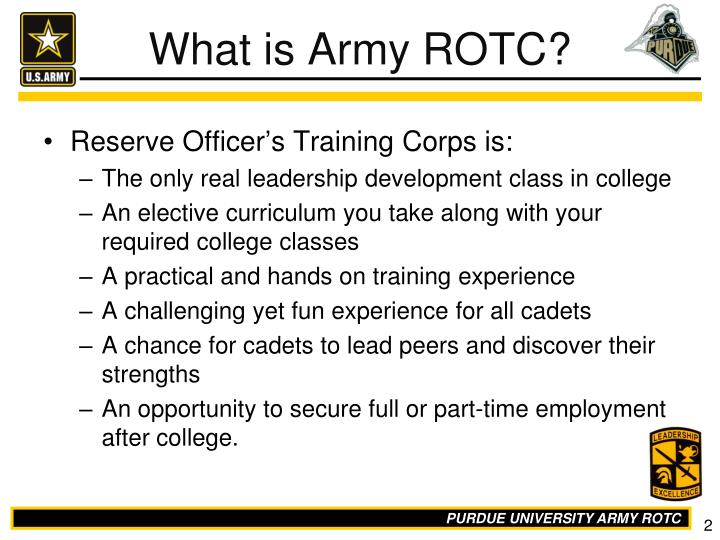 Ppt purdue army reserve officers training corps rotc powerpoint reserve officers training corps is toneelgroepblik Images