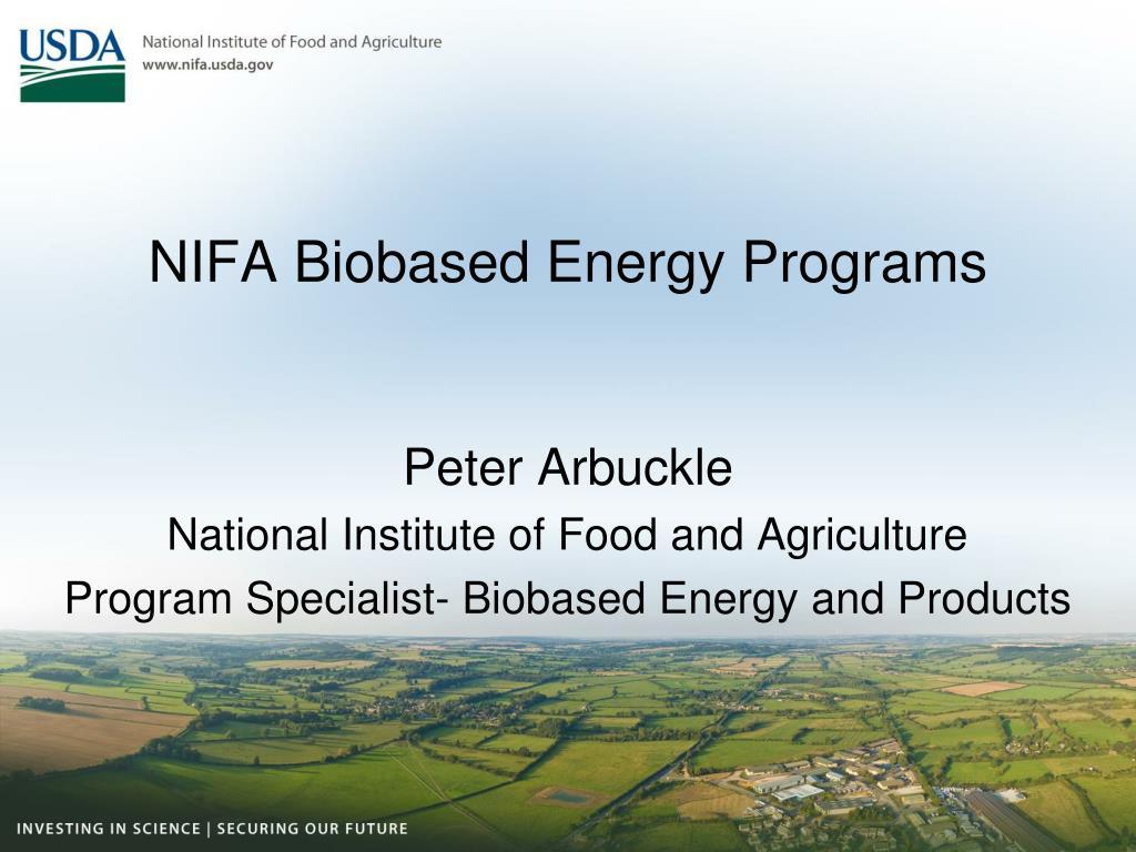 NIFA Biobased Energy Programs