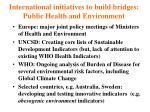 international initiatives to build bridges public health and environment