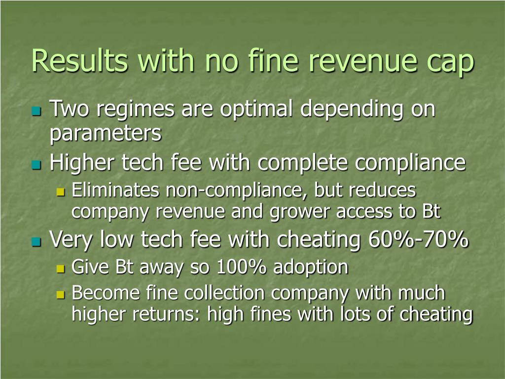 Results with no fine revenue cap