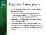 population frame options