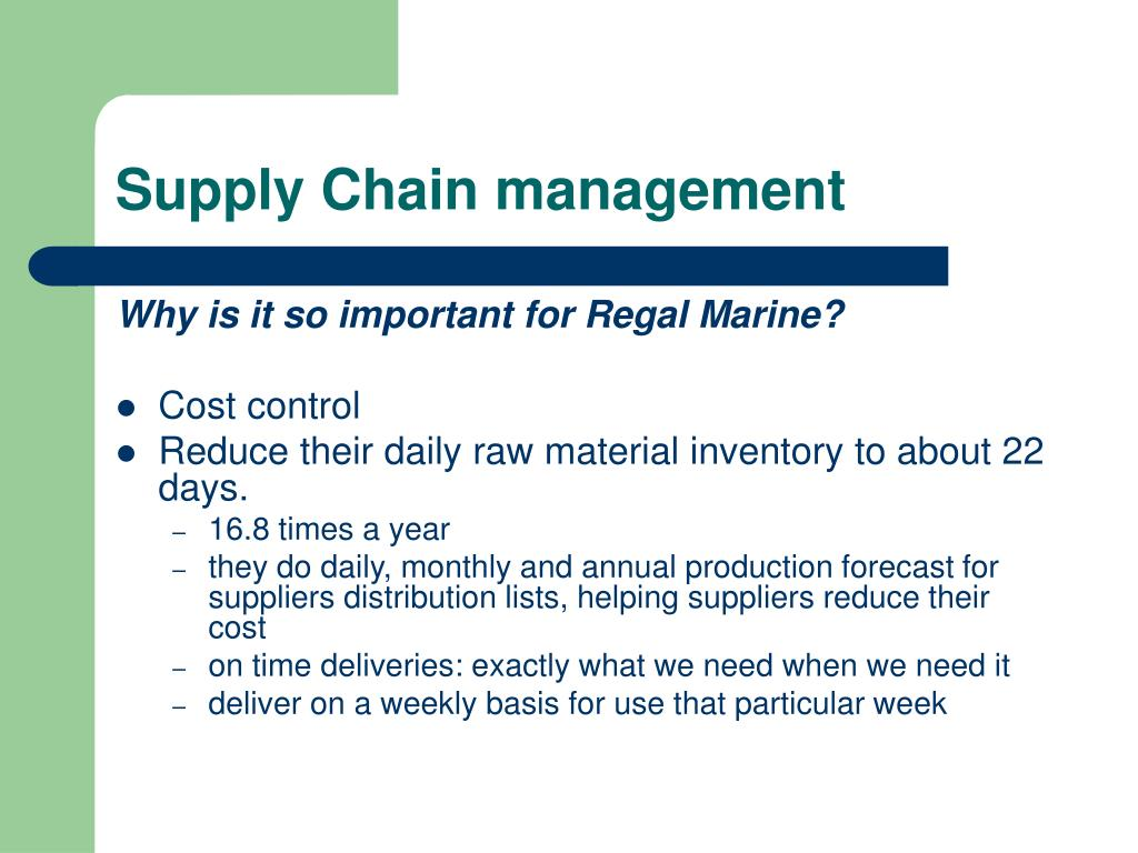 Supply chain management at regal marine
