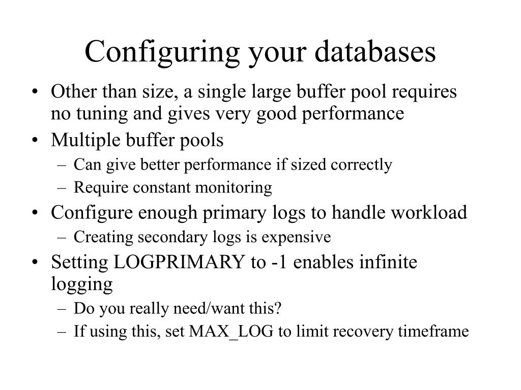 Configuring your databases
