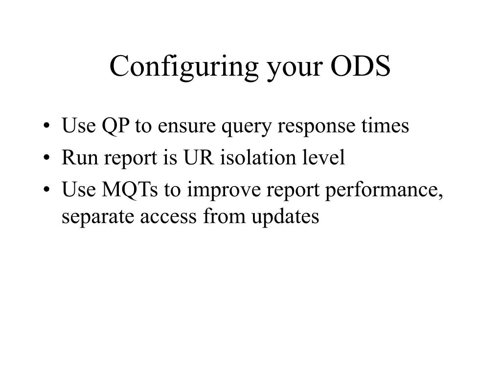 Configuring your ODS