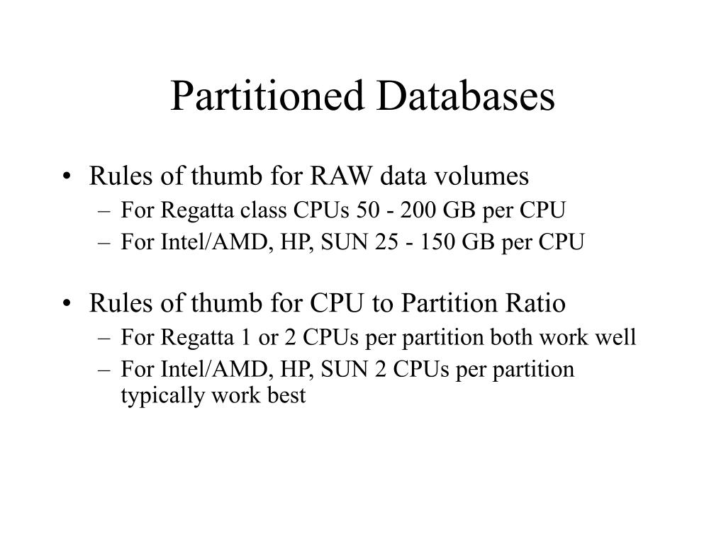 Partitioned Databases