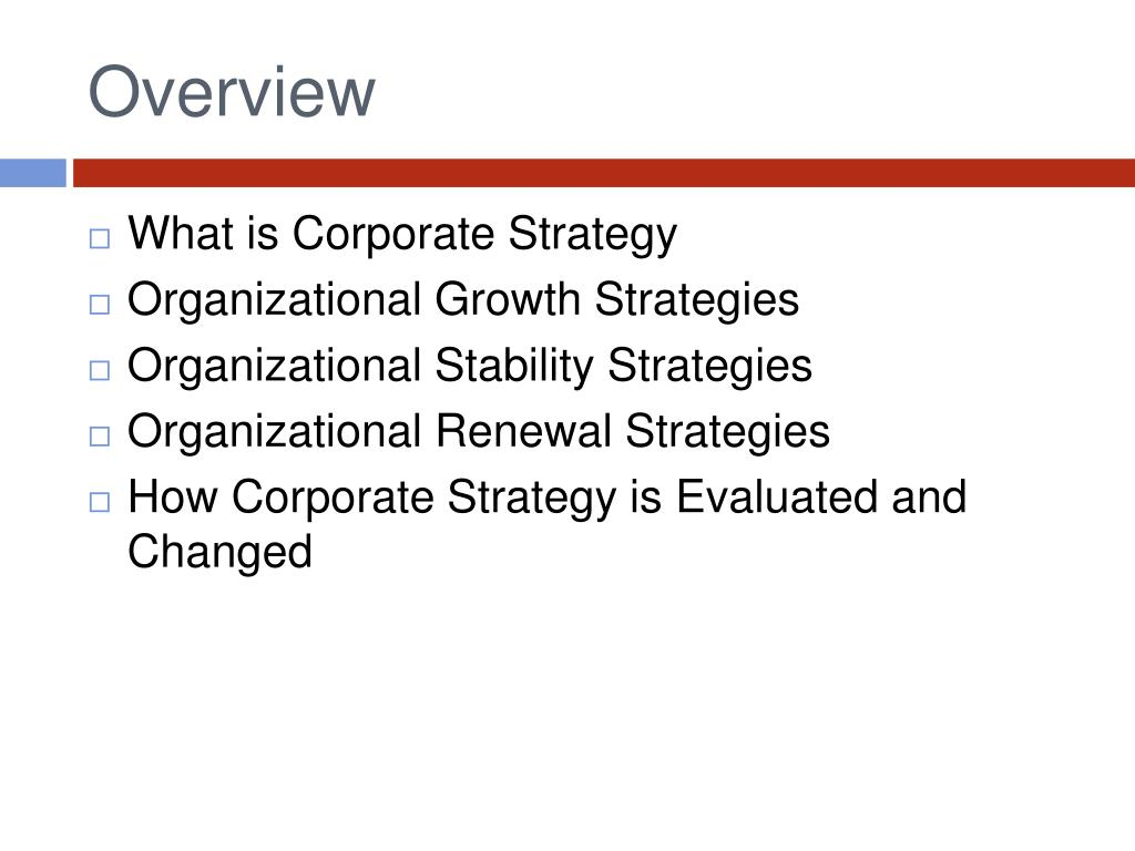 PPT - CORPORATE STRATEGIES Strategic Management in Action