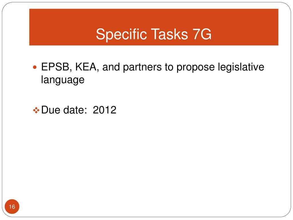 Specific Tasks 7G
