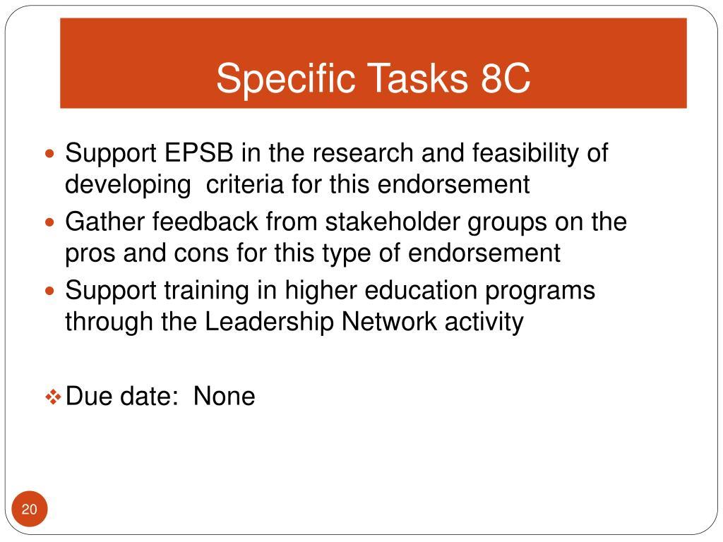Specific Tasks 8C