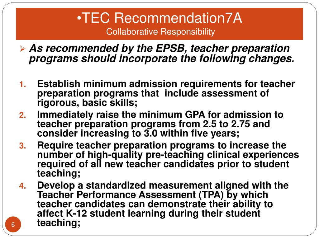 TEC Recommendation7A